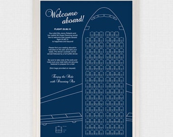 retro airplane wedding seating chart printable file aviation plane travel destination wedding unique wedding seating plan reception seating