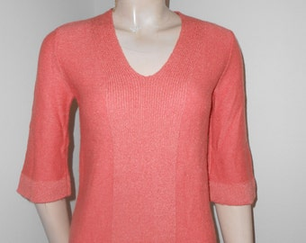 Coral Color, 3/4 Sleeves, V-Neck Pullover Sweater - Size S