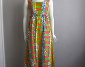 60s MOD cotton maxi dress Hawaiian size medium