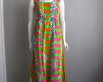 60s MOD cotton maxi dress Hawaiian size medium