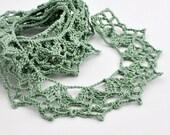Crochet Border Trim - Lace - Cotton - Handmade Edging - Sage Green - One Yard -