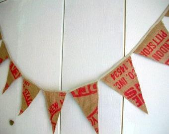 Grain sack garland  Vintage coffee sack banner  Flag swag Red graphics Summertime patio porch decor