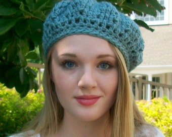 Womens and Teens Crocheted beret, Girls Back to school Slouchy hat, Sky blue, French artist tam