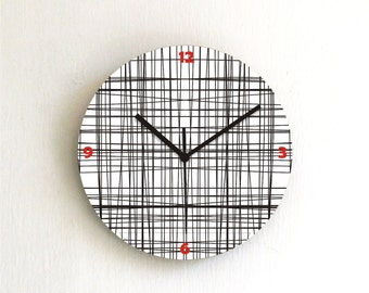 Black Grid Lines simple modern Minimalist office kitchen bedroom home decor printed wall clock