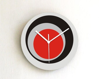 Gray black red Circles Geometric Modern Minimalist kitchen bedroom handmade graphic design wall clock