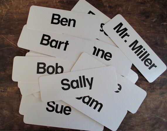 pick a name, vintage name flash card, vintage name flashcard, names on cards, school flash cards, old flashcards, word cards, name cards