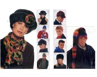 1990s Hats Pattern Warm Winter Roll Brim Sherlock Holmes Hunters Long Tail Stocking Caps Hood Mens Womens Unisex McCalls 9063 Sewing Pattern