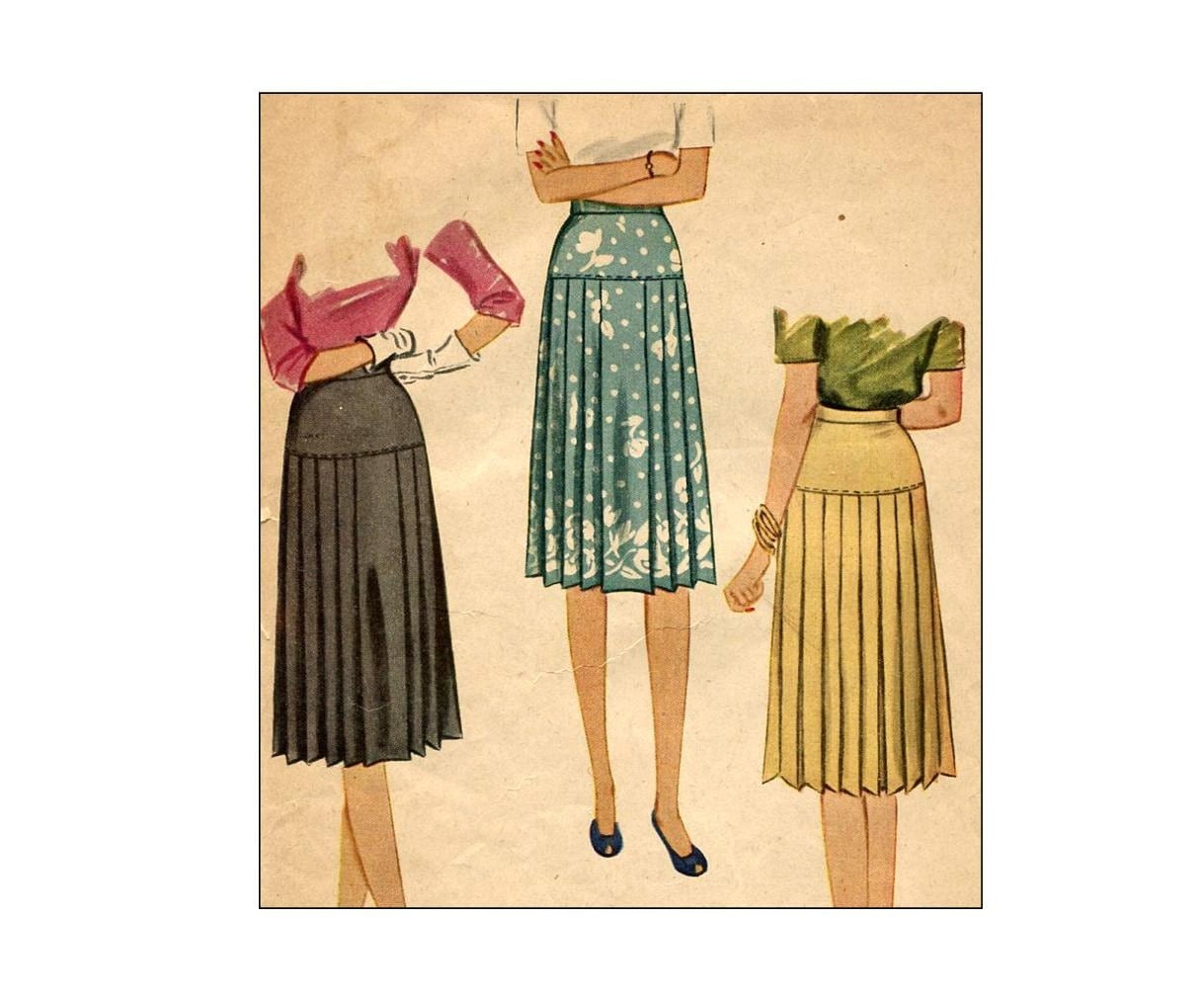 vintage 1940s pleated skirt sewing pattern by