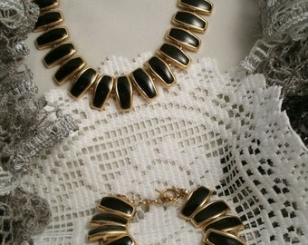 Art Deco Gold plated necklace Contemporary Design Repurposed Vintage with Matching Bracelet