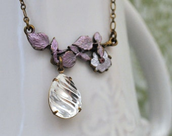 vintage jewel necklace bridal - WATER DROP - vintage Swarovski crystal jewel necklace in antiqued brass