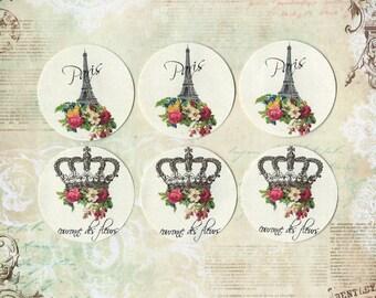 Shabby French Style Sticker Seals Eiffel Tower & Crown