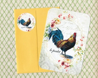 Note Cards, Rooster, French Farm House, le Poulet, French Rooster, Stickers