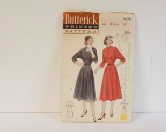 Vintage 1950s Butterick Sof skirted One piece Dress Pattern 5876 Size  14