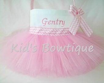 Monogrammed Easter Egg Basket- Personalized Pink Tutu Easter Basket - Flower Girl Tutu Bag Basket