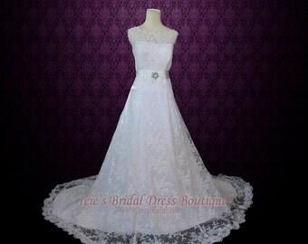 Exquisite Modest Wedding Dress   Lace Wedding Dress  Vintage Wedding Dress   A-line Lace Wedding Dress with Jewel Neck   Bruna