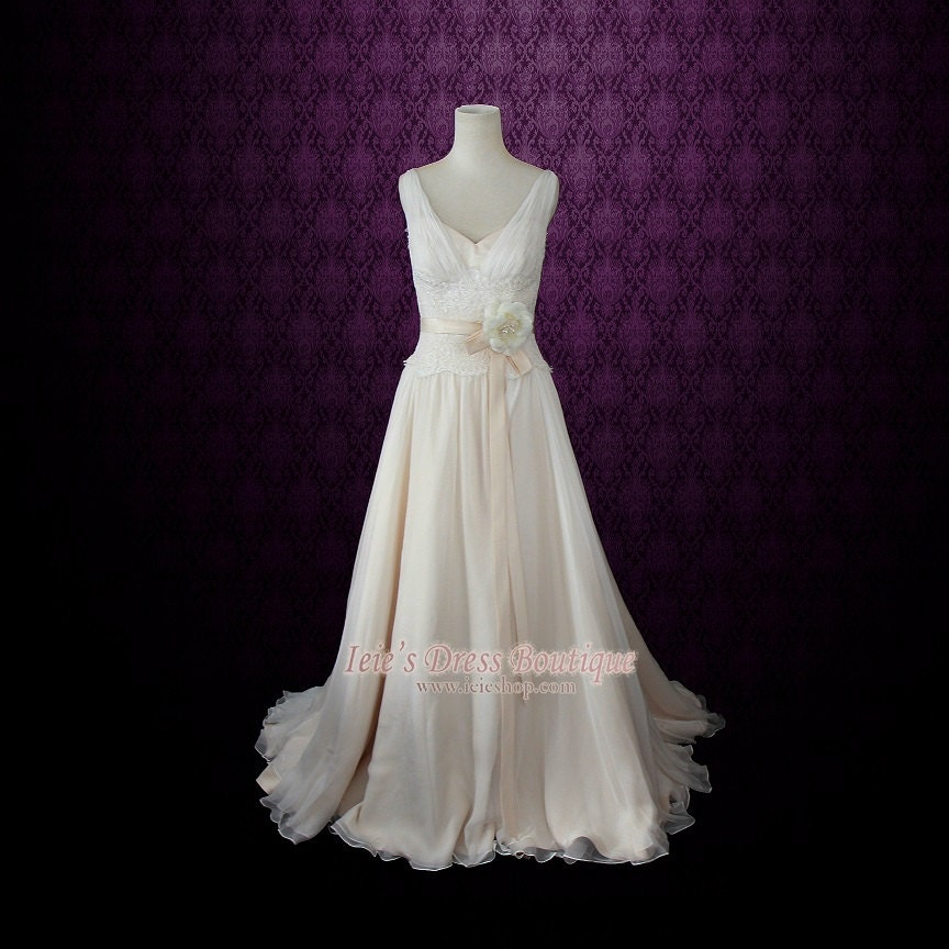 chiffon beach wedding dress grecian wedding dress silk
