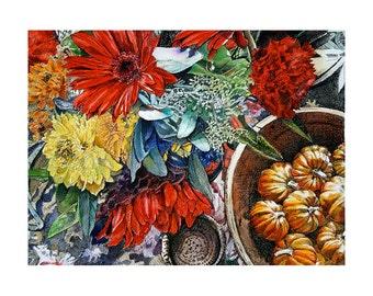 Fall Floral Watercolor Painting- 8x11- Original  Fine Art- Pen Ink on Paper- Red Gerbera, Aqua,Yellow Flowers, Orange Pumpkins- Watercolour