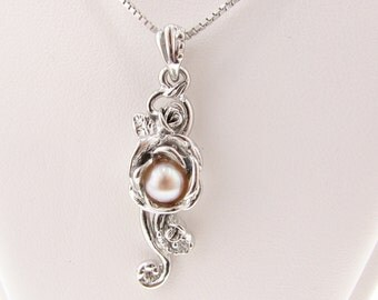 Rose Cascade Pendant, Pearl &  Silver