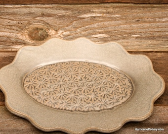 Ceramic Pottery Tray in Taupe with Geometric Flower Impressions