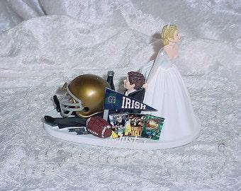 Notre Dame University Football Couple Bride dragging Sports Lover Groom Fun Wedding Cake Topper-Mr Athletic love Mrs I DO Weddings - 2