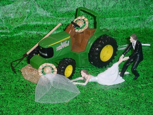 Bride pulling groom to go to the Altar Couple Country Farm Green ...