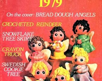 Womens Circle Christmas Book Vintage 1979 Bread Dough Angel Crochet Reindeer Snowflake Tree Skirt Swedish Cookie Tree Craft Pattern Magazine