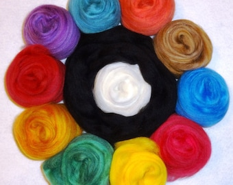 Superfine Merino Wool Roving - Color Fusion Felting Spinning Kit - Wool Roving - approx 6oz