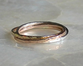 Hammer Faceted Intertwined Triple Rolling Ring Sterling Silver, 14kt Gold Filled, or Solid 14k Gold Eco Friendly Recycled Nickel Free