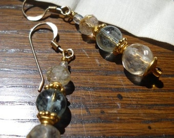 Aquamarine and Rutilated Quartz Earrings 14k gold fill ear wires OOAK by Chantee B