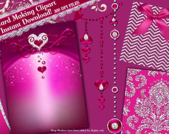 Diamond Clipart, Chevron Diamond Clipart, Card Making Clipart, Jewel Clipart