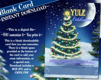 Blank Cards, Yule Celebration Card, Yule Invitations, Blank Yule Card