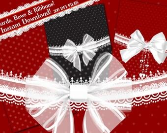 Bow Clipart, Ribbon Clipart, Digital Paper Clipart, Digital Bows and Ribbons, Clip Art