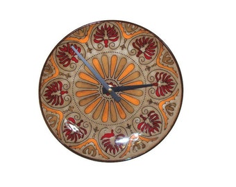 Medallion Wall Clock, Kitchen Clock, Ceramic Plate Clock, Orange Deep Red Tan Wall Clock, Earthy Home Decor, Wall Decor - 2102