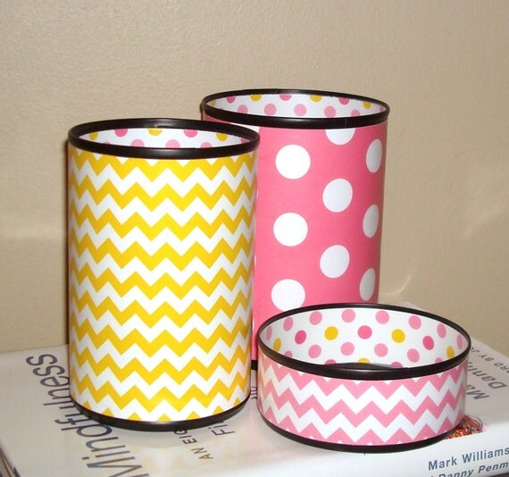 Pencil Holder Set Desk Accessories Pink and Yellow Chevron and
