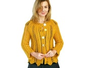 Honey Mustard Cardigan SALE Angela Lace Gold Yellow Jacket Chunky Hand Knit Merino Wool
