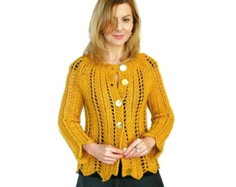Honey Mustard Cardigan SALE Angela Lace Gold Yellow Jacket Chunky Hand Knit Merino Wool