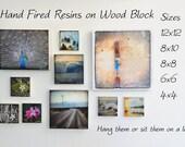 Photo Wood Block. Resin on wood panel.