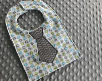 Gray Chevron Tie Letter Bib