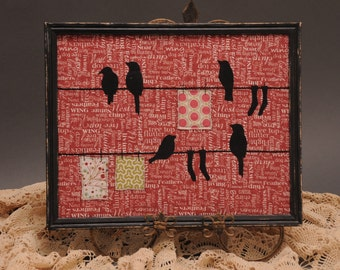 OOAK Birds on a wire Fiber Art, Black vintage distressed frame, Art, Birds Art