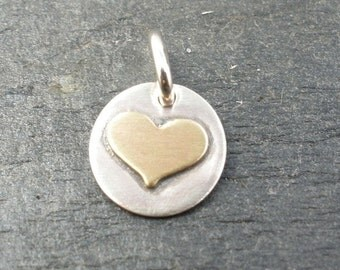 Small Soldered Brass Heart Charm