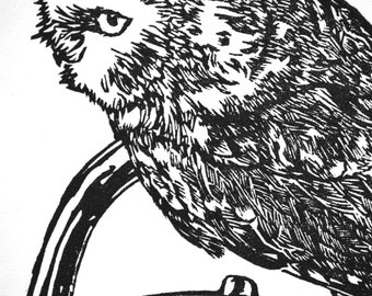 """Owl with Teapot, hand carved woodblock print, 10""""x12"""""""
