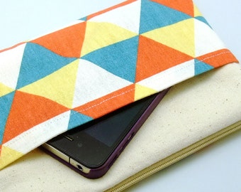 Large Zipper Pouch, Pencil Pouch, Gadget Bag, Cosmetic Bag, with a front pocket, Triangular pattern (ZL-26)
