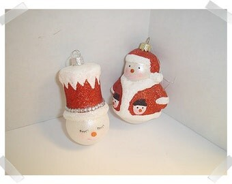 Glass/Glitter Snowmen Ornaments/ Set of 2/ Craft Supplies**