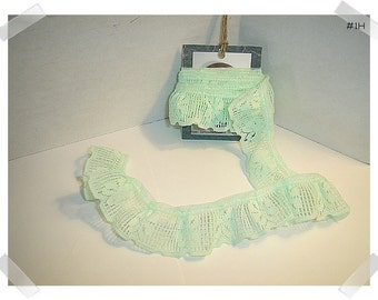 Lace Ruffled Trim/Mint Green/1 & 1/2 yards/ Whole Piece/Craft Supplies (#1H)*