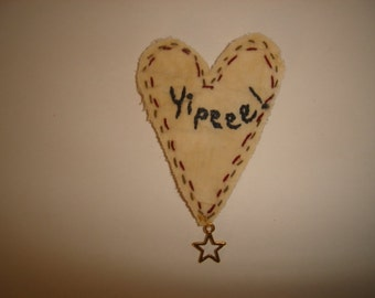 Heart Muslin Fabric Ornament, Magnet, Pin OR Key Ring/ Handmade**