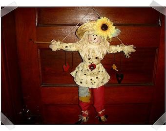 Primitive Scarecrow Wall or Door Decoration/ Handmade**