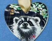 Mini Mirror,  Raccoon , BEE, & flowers, Hand Painted, Ginger J Critter Art