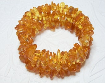 Lemon Honey Baltic Amber Memory Bangle Bracelet One Size fits All