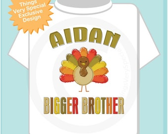 Thanksgiving Bigger Brother with Name Tee Shirt or Gerber Onesie