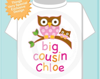 Big Cousin Shirt, Big Cousin Owl Tee Shirt or Big Cousin Onesie Pregnancy Announcement, Owl Big Cousin 07092013b